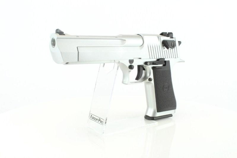 Airsoftová pistole DE .50AE CO2 , kovový závěr, blowback - Stříbrný 360 foto
