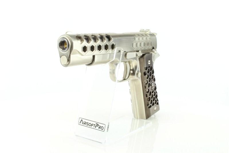 Airsoftová pistole M1911 Hex Cut - GBB, celokov, Gen2 - stříbrná 360 foto