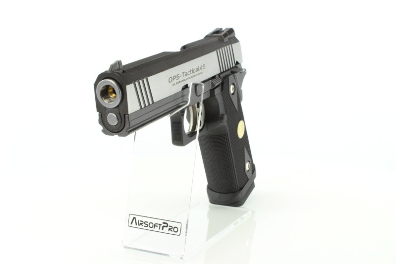 Airsoft pistol Hi Capa 4.3 OPS Special Edition - GBB, full metal, silver 360 foto