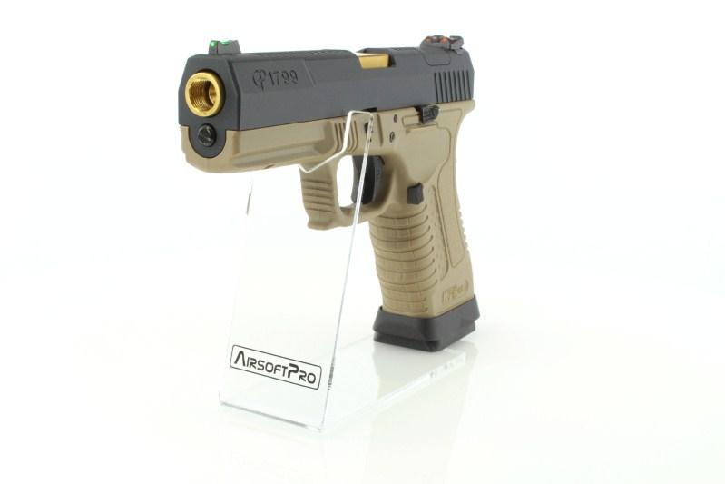 Airsoftová pistole GP1799 T6 - GBB, černý kovový závěr, pískový rám, zlatá hlaveň 360 foto