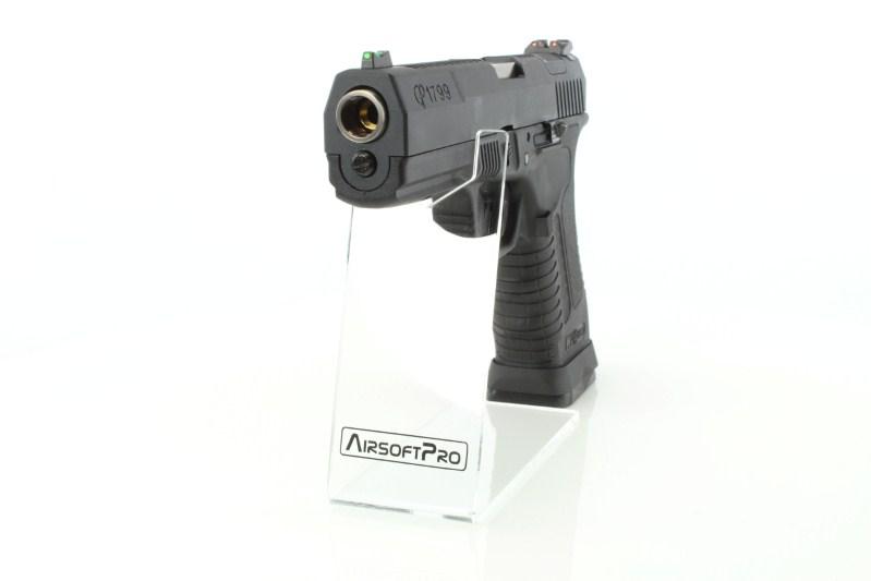 Airsoftová pistole GP1799 T5 - GBB, černý kovový závěr, černý rám, stříbrná hlaveň 360 foto