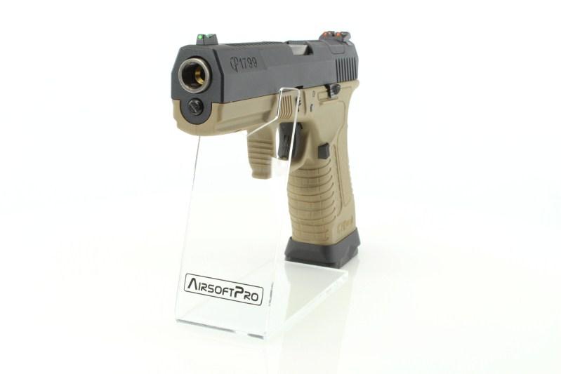 Airsoftová pistole GP1799 T2 - GBB, černý kovový závěr, pískový rám, stříbrná hlaveň 360 foto