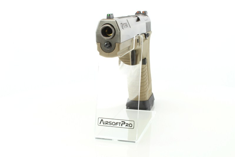 Airsoftová pistole GP1799 T8 - GBB, stříbrný kovový závěr, pískový rám, stříbrná hlaveň 360 foto