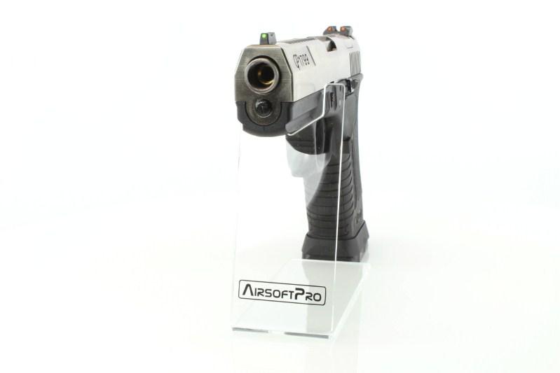 Airsoftová pistole GP1799 T7 - GBB, stříbrný kovový závěr, černý rám, stříbrná hlaveň 360 foto