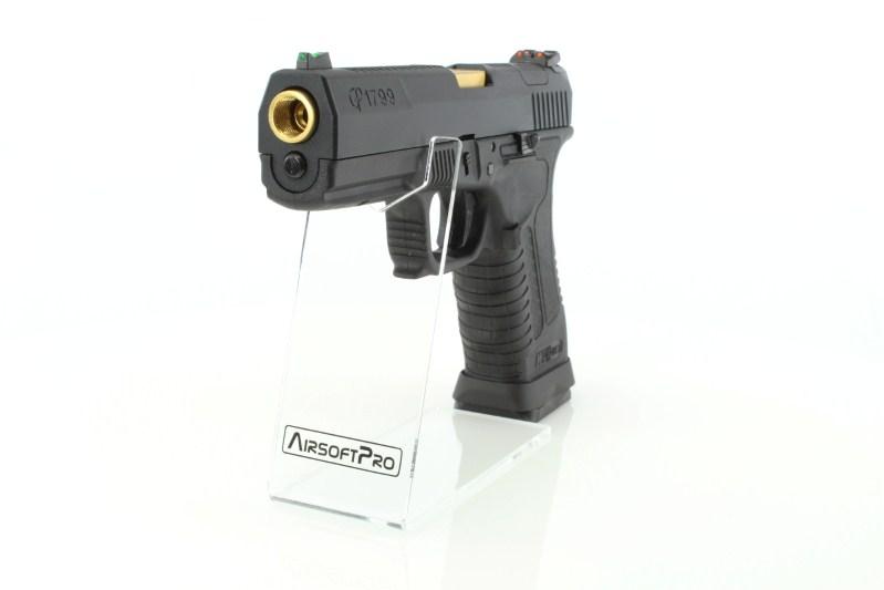 Airsoftová pistole GP1799 T1 - GBB, černý kovový závěr, černý rám, zlatá hlaveň 360 foto