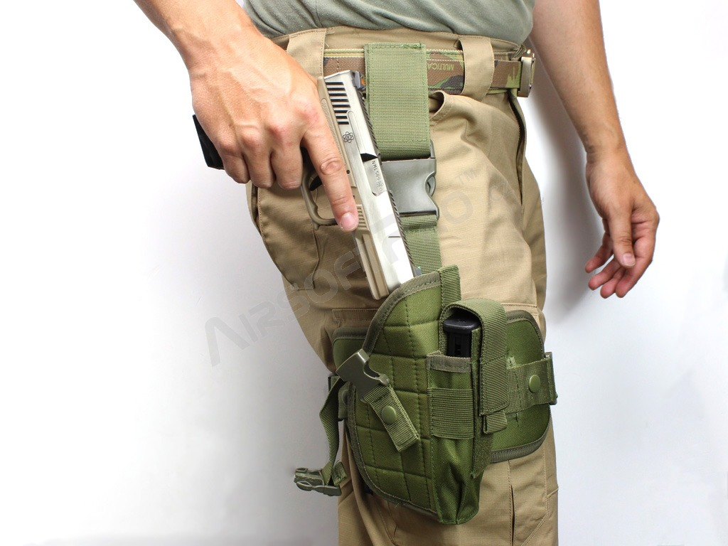 Universal Tactical Pistol Holster w/ Drop Leg Panel - OD [AITAG]