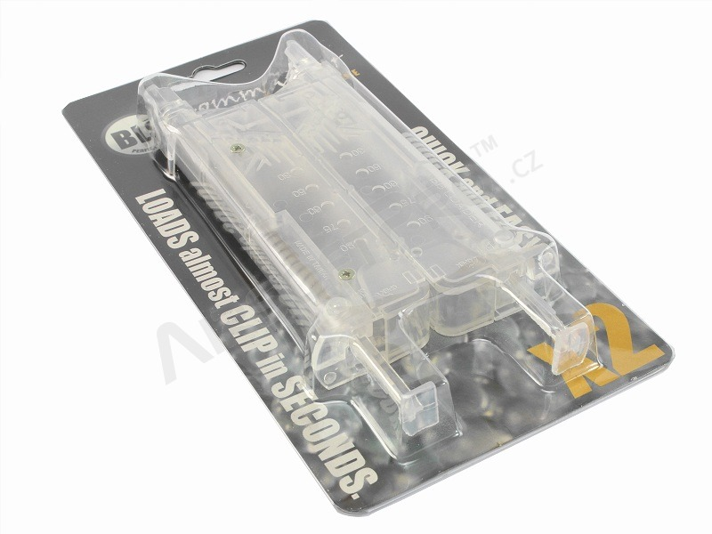 Airsoft 90-100 BBs speed magazine loader Commander, 2pcs set - clear [BLS]