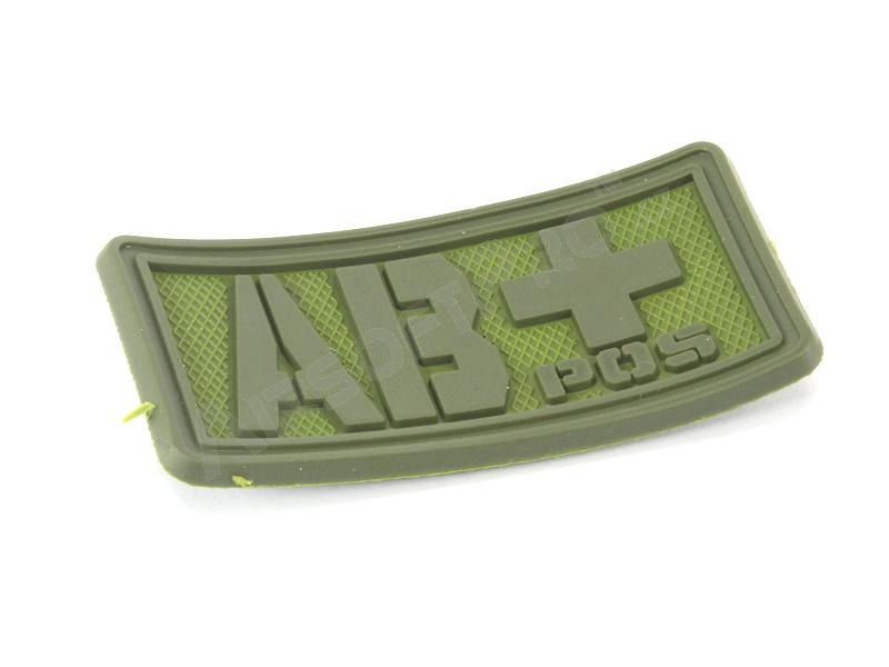 PVC 3D Blood type velcro patch AB+  - OD color [EmersonGear]