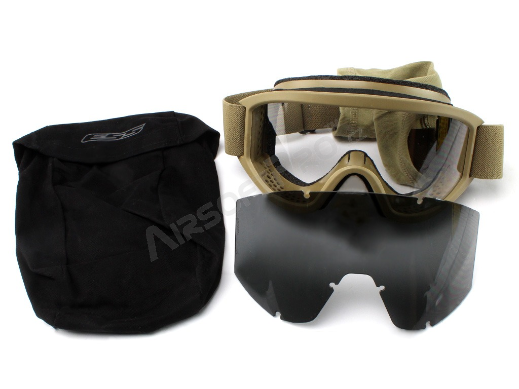 Land Ops goggle with ballistic resistance, TAN - clear, gray [ESS]