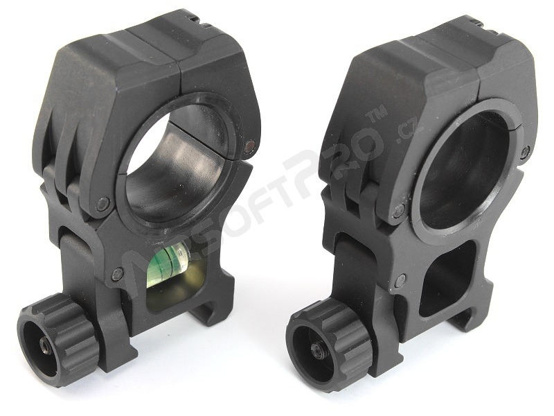 CNC 25/30mm high mount rings with the spirit level - black [FMA]