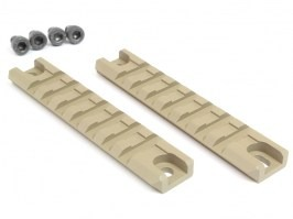 Two pieces of metal G36C ris rails including screws, 98mm long, TAN [Big Dragon]