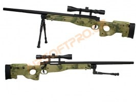 Airsoft sniper SAG L96 UPGRADE + scope + bipod - A-TACS FG [E&C]