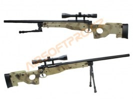 Airsoft sniper SAG L96 UPGRADE + scope + bipod - A-TACS AU [E&C]