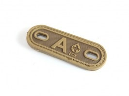 PVC 3D Blood type tag A+  - Coyote Brown (CB) [EmersonGear]