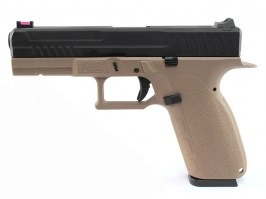 Airsoft pistol KP-13, black metal slide, blowback, CO2 - TAN [KJ Works]