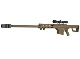 M82 (LT-20) spring action airsoft sniper rifle + riflescope 3-9x40, TAN [Lancer Tactical]