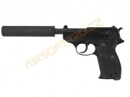Airsoft pistol P38S with supressor - gas blowback - black [WE]
