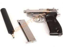 Airsoft pistol P38S with supressor - gas blowback - silver [WE]
