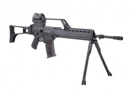 Airsoft rifle SA-G13 EBB replica with scope, red dot and bipod, black [Specna Arms]