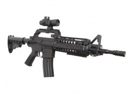 Airsoft M4 S-System + silencer + flashlight + red dot - ABS [Well]