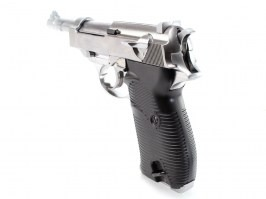 Airsoft pistol P38 - metal, gas blowback - silver [WE]