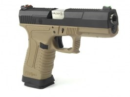 Airsoft pistol GP1799 T2  - GBB, metal black slide, TAN frame, silver barrel [WE]