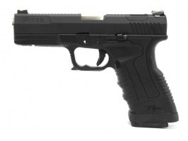 Airsoft pistol GP1799 T5  - GBB, metal black slide, black frame, silver barrel [WE]