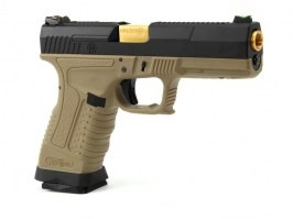 Airsoft pistol GP1799 T6  - GBB, metal black slide, TAN frame, gold barrel [WE]