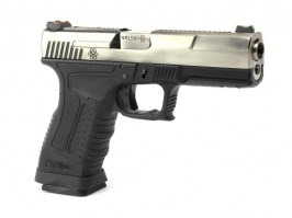 Airsoft pistol GP1799 T7  - GBB, metal silver slide, black frame, silver barrel [WE]