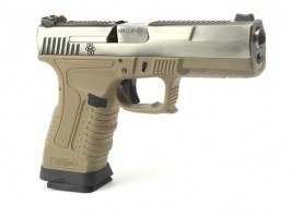 Airsoft pistol GP1799 T8  - GBB, metal silver slide, TAN frame, silver barrel [WE]