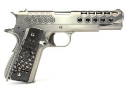 Airsoft pistol M1911 Hex Cut - GBB, full metal, Gen.2 - silver [WE]