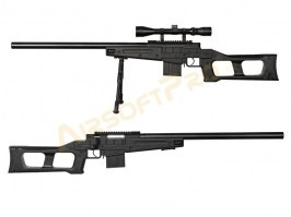 Airsoft sniper MB4408D + scope and bipod - black [Well]