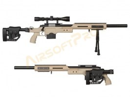 Airsoft sniper MB4410D + scope and bipod - TAN [Well]
