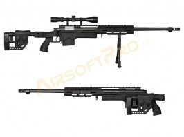 Airsoft sniper MB4411D + scope and bipod - black [Well]
