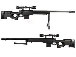 Airsoft sniper L96 AWS MB4402D (UPGRADE version) + scope and bipod - Black [Well]