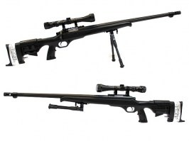 Airsoft sniper MB12D black + scope + bipod [Well]
