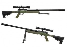 Airsoft sniper APS SR-2 LRV (MB13D) + bipod + scope + silencer, OD [Well]