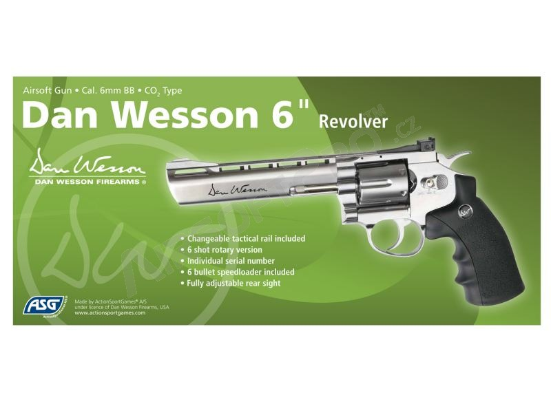 Airsoftový revolver DAN WESSON 6″ stainless - CO2 [ASG]