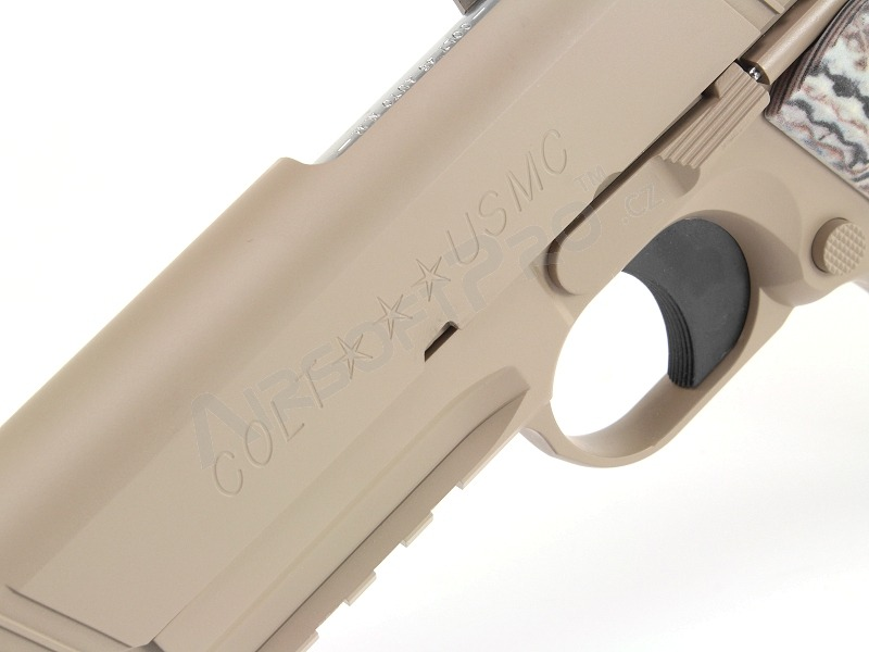 Airsoftová pistole M45A1, plyn blowback (GBB) - TAN [Tokyo Marui]