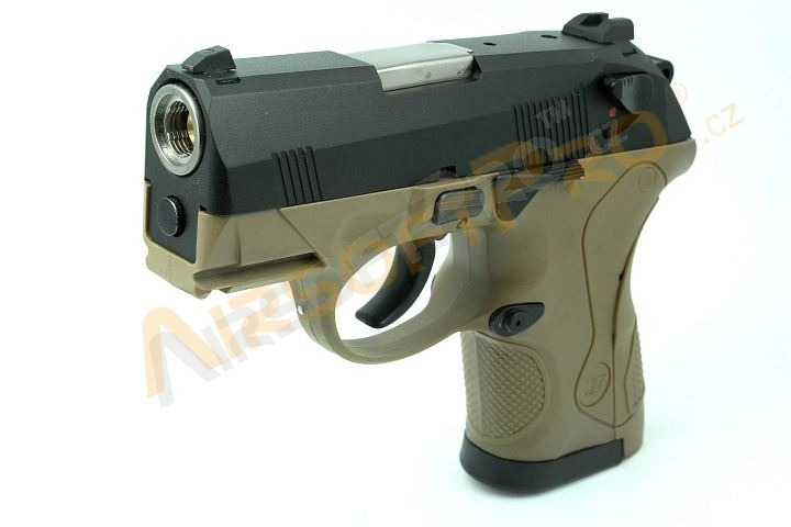 Airsoftová pistole Compact Bulldog - 2x zásobník, TAN, blowback [WE]