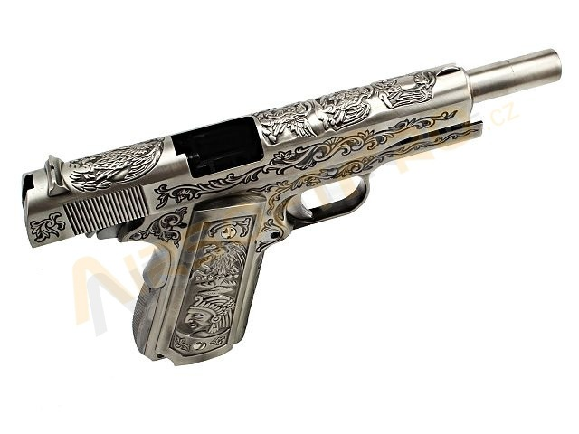 M1911 - etched, version silver, gas blowback, full metal [WE]