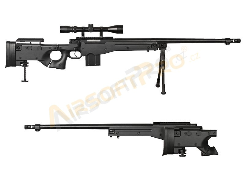Airsoft sniper MB4403D + scope and bipod - black [Well]