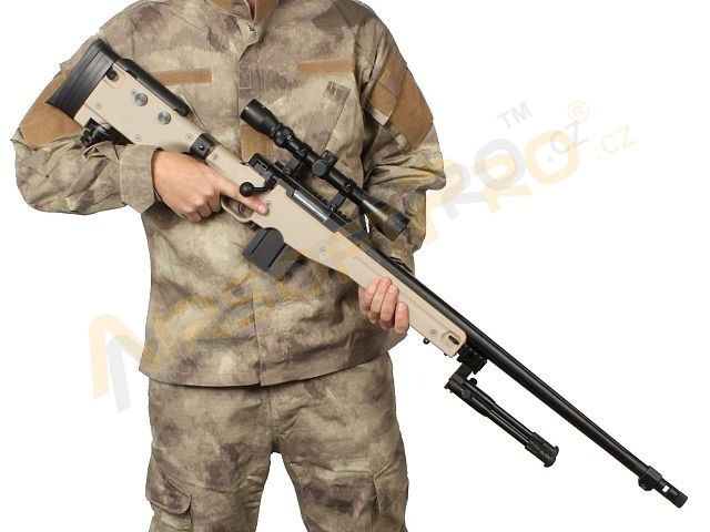Airsoft sniper MB4403D + scope and bipod - TAN [Well]