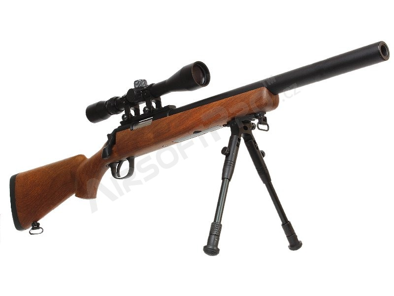 Airsoft sniper MB02D wood + scope + bipod [Well]