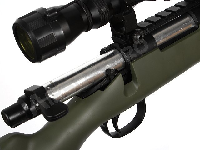 Airsoft sniper MB03D + scope and bipod, olive [Well]