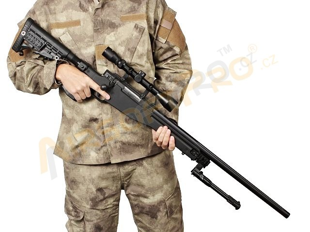 Airsoft sniper MB14D + scope and bipod - black [Well]