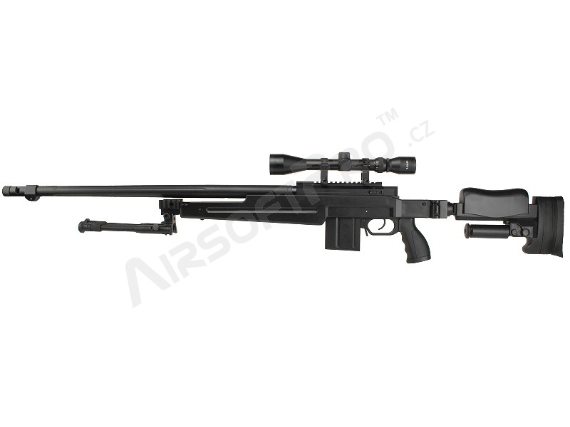 Airsoft sniper MB4414D (Upgrade version) + scope and bipod - black [Well]